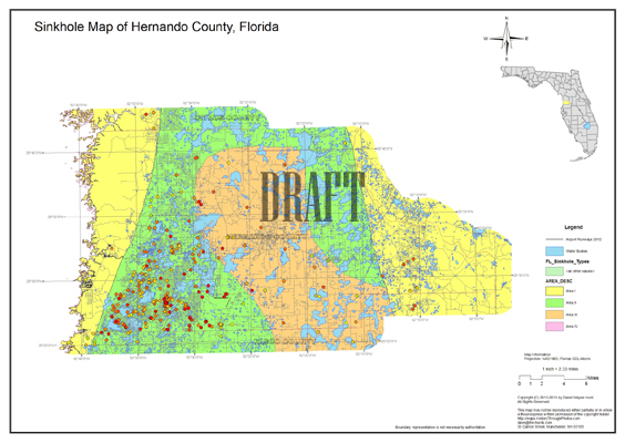 Sinkhole Map, Hernando County, Florida