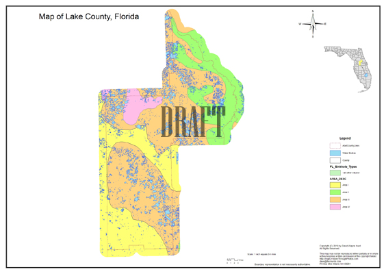 Sinkhole Map, Lake County, Florida