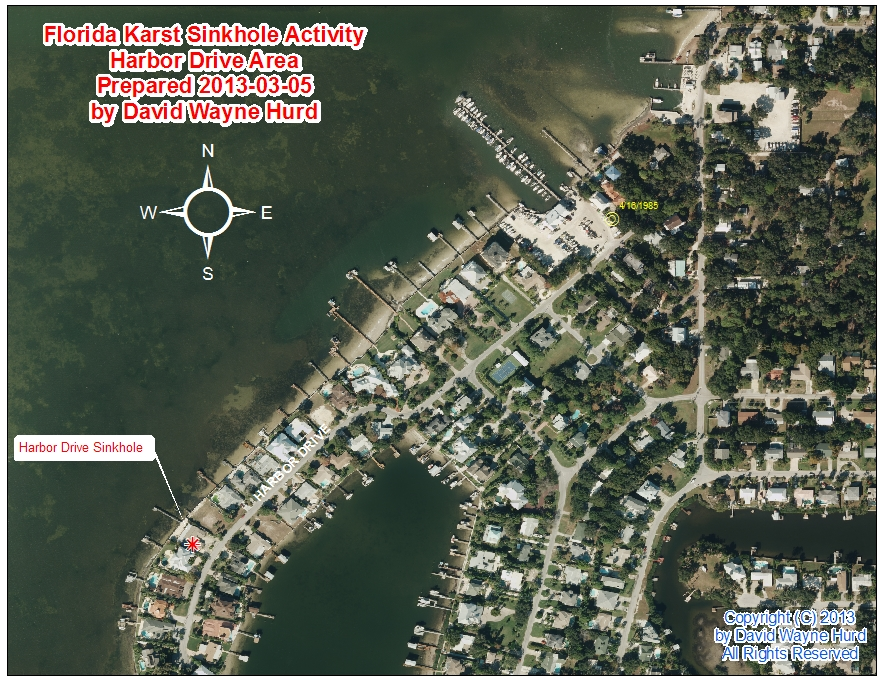 Area Map Harbor Drive Sinkhole Palm Harbor Pinellas County Florida