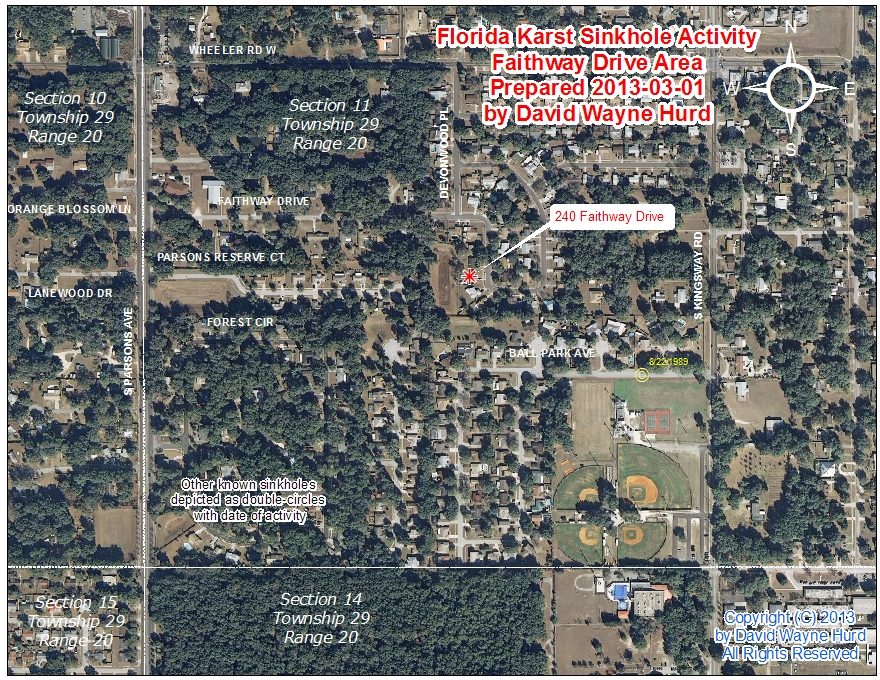 Florida Sink Hole Map.Area Map Faithway Drive Sinkhole Seffner Hillsborough County